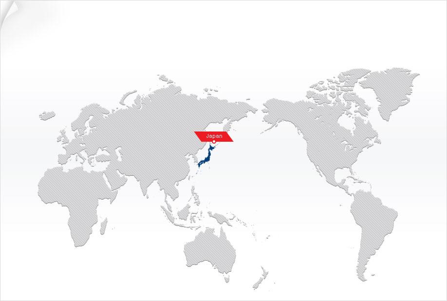 World Map Showing Japan